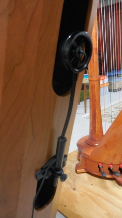 Close-up of the mic attached to my harp.