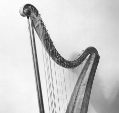When was the lever harp invented?